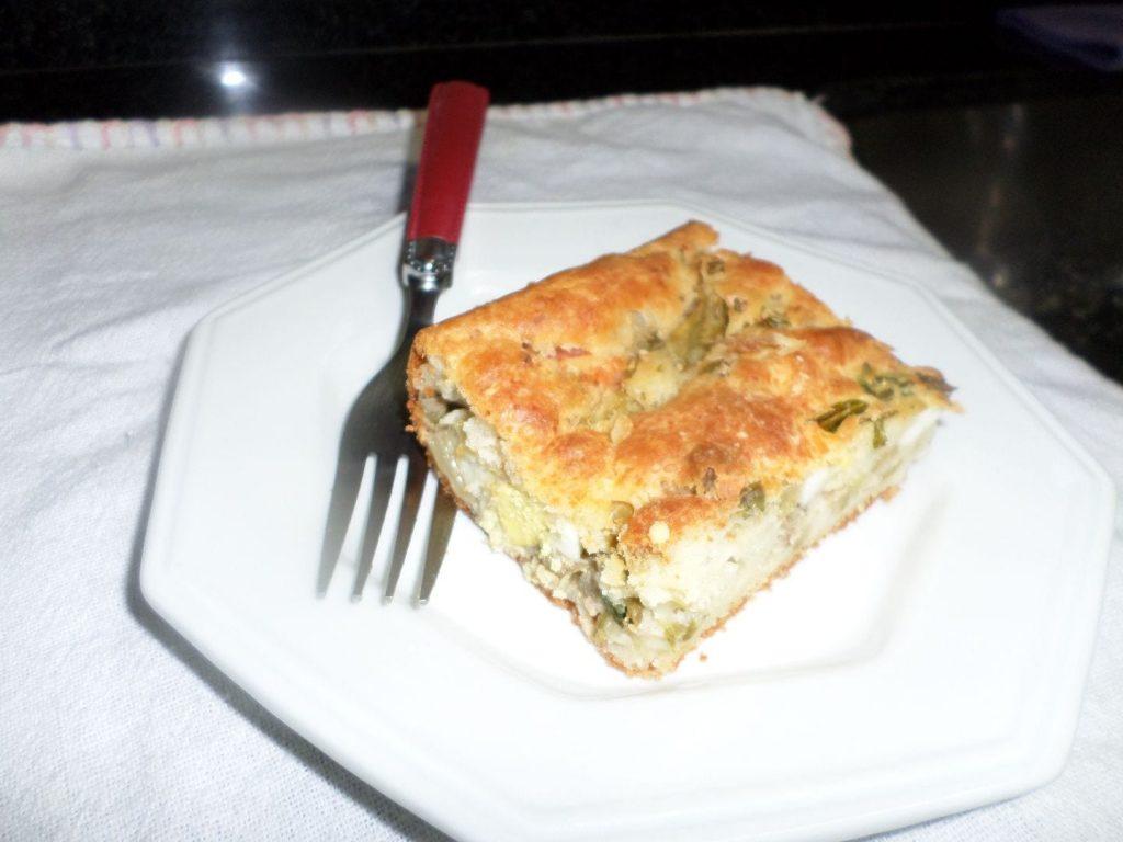 Torta vegana ervilha e escarola