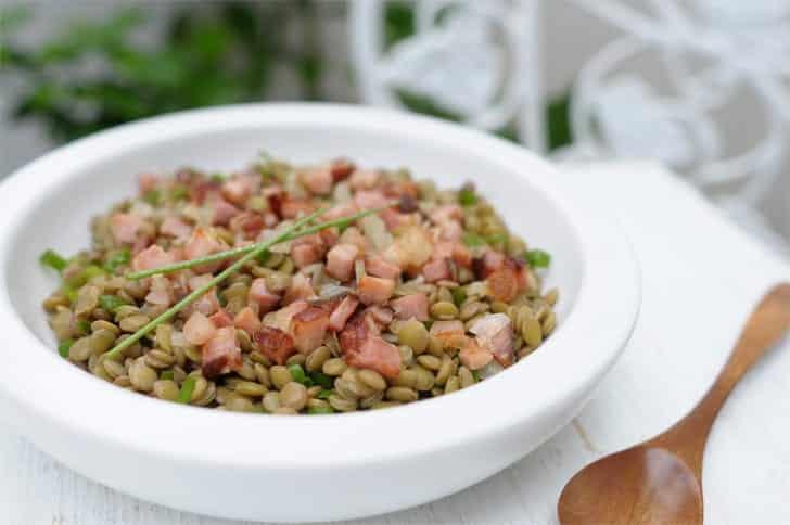 Salada de lentilha com bacon